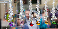 Hanging crystal decorations, Northwest Folklife Festival 2016, Seattle Center, Washington, USA.