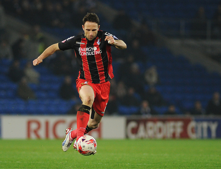 Bournemouth's Marc Pugh in action during todays match  <br /> <br /> Photographer Kevin Barnes/CameraSport<br /> <br /> Football - The Football League Sky Bet Championship - Cardiff v Bournemouth - Tuesday 17th March 2015 - Cardiff City Stadium - Cardiff<br /> <br /> &copy; CameraSport - 43 Linden Ave. Countesthorpe. Leicester. England. LE8 5PG - Tel: +44 (0) 116 277 4147 - admin@camerasport.com - www.camerasport.com