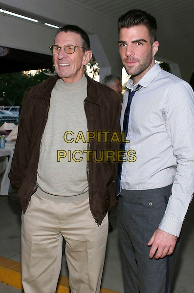 LEONARD NIMOY & ZACHARY QUINTO.19th Annual Hollywood Charity Horse Show held at the Los Angeles Equestrian Center, Burbank, CA, USA..April 25th, 2009.half length shirt blue top 3/4 glasses beige brown black jacket top .CAP/ADM/TC.©T. Conrad/AdMedia/Capital Pictures.