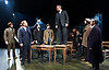 An Enemy of the People <br /> by Henrik Ibsen <br /> a version by Christopher Hampton <br /> at Chichester Festival Theatre, Chichester, West Sussex, Great Britain <br /> Press photocell <br /> 29th April 2016 <br /> <br /> Hugh Bonneville as Dr Tomas Stockmann <br /> <br /> <br /> <br /> Adam James as Hovstad <br /> <br /> <br /> <br /> <br /> <br /> Photograph by Elliott Franks <br /> Image licensed to Elliott Franks Photography Services