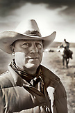 USA, Wyoming, Encampment, portrait of a cowboy at a branding, Big Creek Ranch (B&W)