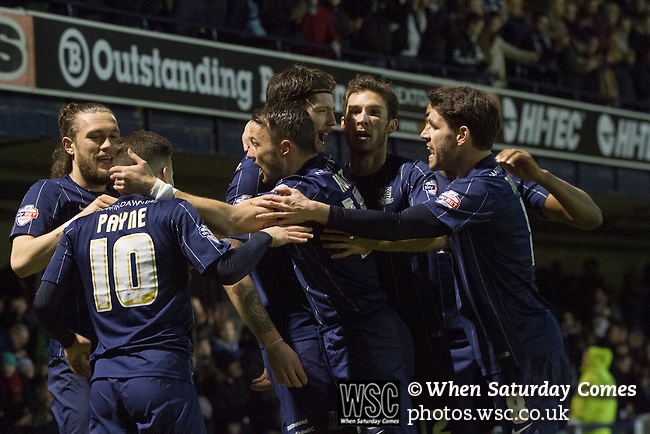 Southend United 1 Burton Albion 1, 22/02/2016. Roots Hall, League One. Home players celebrating the opening goal scored by Anthony Wordswoth (third from right) as Southend United took on Burton Albion in a League 1 fixture at Roots Hall. Founded in 1906, Southend United moved into their current ground in 1955, the construction of which was funded by the club's supporters. Southend won this match by 3-1, watched by a crowd of 6503. Photo by Colin McPherson.