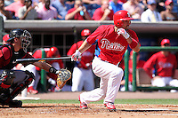 Philadelphia Phillies outfielder Shane Victorino #8 at bat during a spring training game against the Houston Astros at Bright House Field on March 7, 2012 in Clearwater, Florida.  (Mike Janes/Four Seam Images)