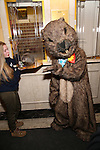 """Mr. Groundhog with Staten Island Chuck visit the """"Groundhog Day'' opening day box office at The August Wilson Theatre on February 2, 2017 in New York City."""