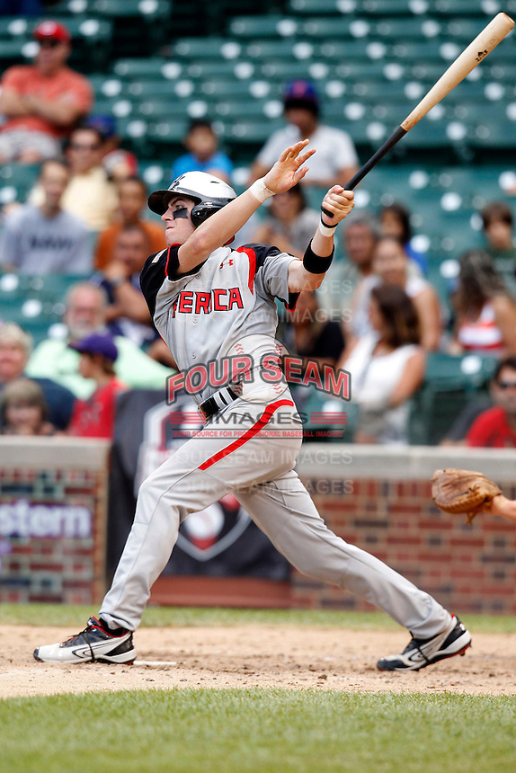 Second baseman Mikey White #14 during the Under Armour All-American Game at Wrigley Field on August 13, 2011 in Chicago, Illinois.  (Mike Janes/Four Seam Images)