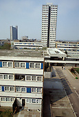 The asbestos-ridden Chantry Point on Elgin Estate, North Paddington, seen from its sister block Hermes Point, before demolition in 1995.  In the background is the landmark Trellick Tower, in neighbouring Kensington and Chelsea.