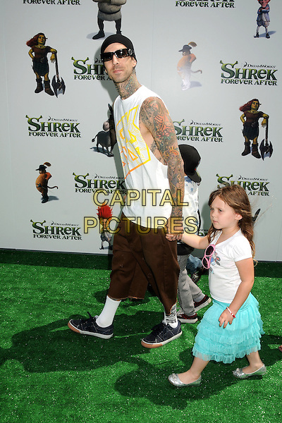 "TRAVIS BARKER & CHILDREN .Attending the ""Shrek Forever After"" Los Angeles Film Premiere held at the Gibson Amphitheatre, Universal City, California, USA, 16th May 2010..arrivals full length sleeveless white top vest tattoos baggy shorts hat sunglasses black beanie trainers kids son daughter family holding hands socks side walking .CAP/ADM/BP.©Byron Purvis/AdMedia/Capital Pictures."