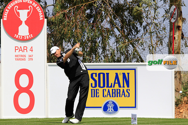 Michael Hoey (NIR) tees off on the 8th hole during Thursday's Round 1 of the Open de Espana at Real Club de Golf de Sevilla, Seville, Spain, 3rd May 2012 (Photo Eoin Clarke/www.golffile.ie)