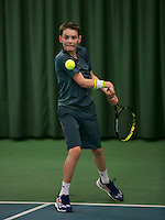 Rotterdam, The Netherlands, 15.03.2014. NOJK 14 and 18 years ,National Indoor Juniors Championships of 2014, Gijs Akkermans (NED)<br /> Photo:Tennisimages/Henk Koster