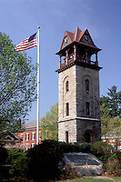 chime tower, Stockbridge, Massachusetts, The Berkshires, Field Chime Tower and U.S. Flag in Stockbridge in the spring.