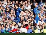 Chelsea's David Luiz tussles with Arsenal's Granit Xhaka during the premier league match at Stamford Bridge Stadium, London. Picture date 17th September 2017. Picture credit should read: David Klein/Sportimage