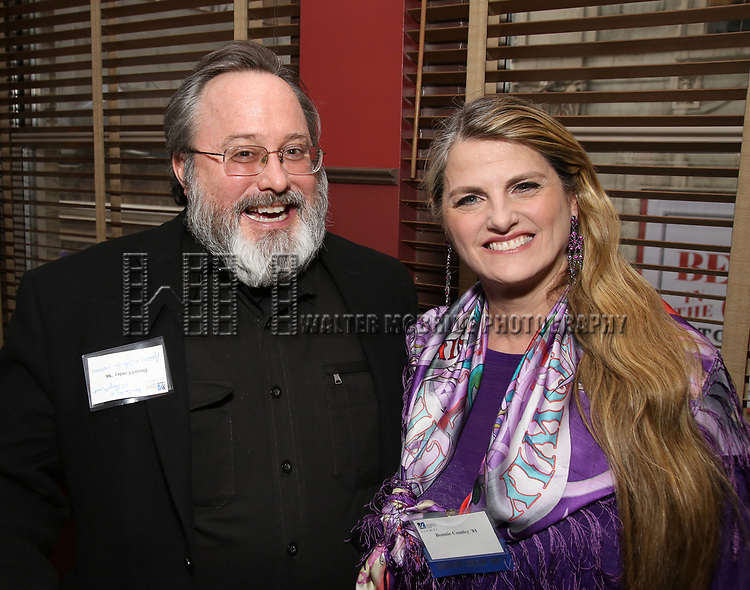 Daniel Conley and Bonnie Comley attend the UMass Lowel Cockail Party for 'Sunset Boulevard' hosted by Chancellor Jacquie Moloney, Bonnie Comley and Stewart F. Lane at Sardi's on April 5, 2017 in New York City