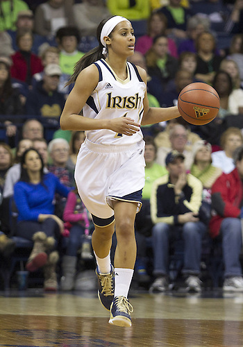 January 26, 2013:  Notre Dame guard Skylar Diggins (4) dribbles the ball during NCAA Basketball game action between the Notre Dame Fighting Irish and the Providence Friars at Purcell Pavilion at the Joyce Center in South Bend, Indiana.  Notre Dame defeated Providence 89-44.