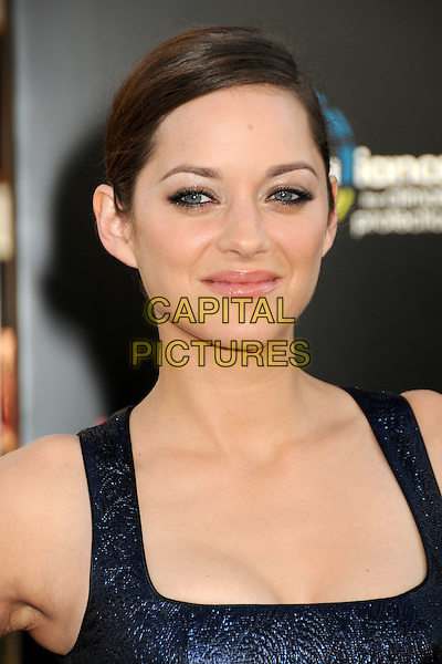 "MARION COTILLARD .""Inception"" Los Angeles Film Premiere held at Grauman's Chinese Theatre, Hollywood, California, USA, .13th July 2010..portrait headshot hair up make-up  blue shiny navy sleeveless .CAP/ADM/BP.©Byron Purvis/AdMedia/Capital Pictures."