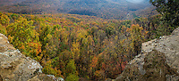 Hedges Pour-Off on Cave Mountain along the Buffalo National River, provides a spectacular view during fall.