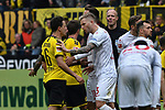 11.05.2019, Signal Iduna Park, Dortmund, GER, DFL, 1. BL, Borussia Dortmund vs Fortuna Duesseldorf, DFL regulations prohibit any use of photographs as image sequences and/or quasi-video<br /> <br /> im Bild heftige Diskusion zwischen Thomas Delaney (#6, Borussia Dortmund) und Andre Hoffmann (#3, Fortuna Duesseldorf) nach Rot / rot Karte f&uuml;r Adam Bodzek (#13, Fortuna Duesseldorf) <br /> <br /> Foto &copy; nordphoto/Mauelshagen