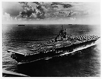 Wade Litzinger's aircraft carrier during WWII, the U.S.S. Shangri-La (CV38) just after the end of WWII - Sept. 3, 1945 (Wade wrote on back). - Aug. 17, 1945