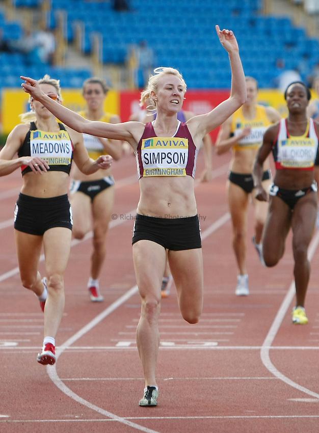 Photo: Steve Bond/Richard Lane Photography..Aviva World Trials & UK Championships athletics. 12/07/2009. Jemma Simpson crosses the line in the women's 800m..