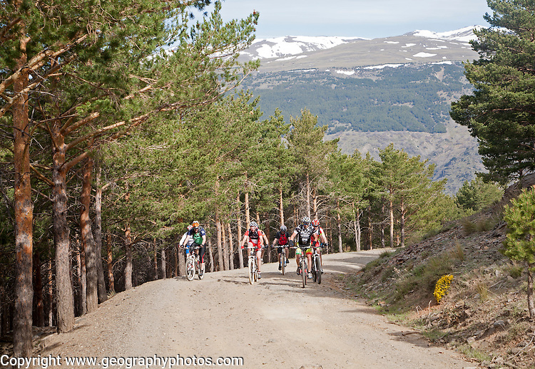 People cycling in Sierra Nevada Mountains, High Alpujarras, Granada Province, Spain