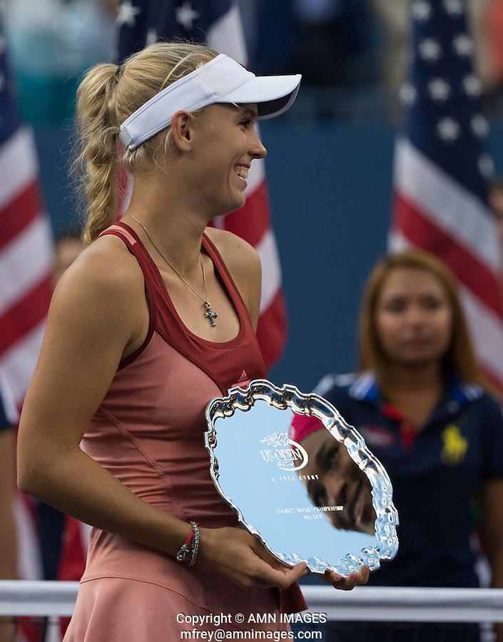 CAROLINE WOZNIACKI (DEN)<br /> The US Open Tennis Championships 2014 - USTA Billie Jean King National Tennis Centre -  Flushing - New York - USA -   ATP - ITF -WTA  2014  - Grand Slam - USA  <br /> 7th September 2014. <br /> <br /> &copy; AMN IMAGES