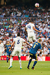 Real Madrid's player Raphael Varane and Carlos Henrique Casemiro and Celta de Vigo's player John Guidetti during a match of La Liga Santander at Santiago Bernabeu Stadium in Madrid. August 27, Spain. 2016. (ALTERPHOTOS/BorjaB.Hojas)