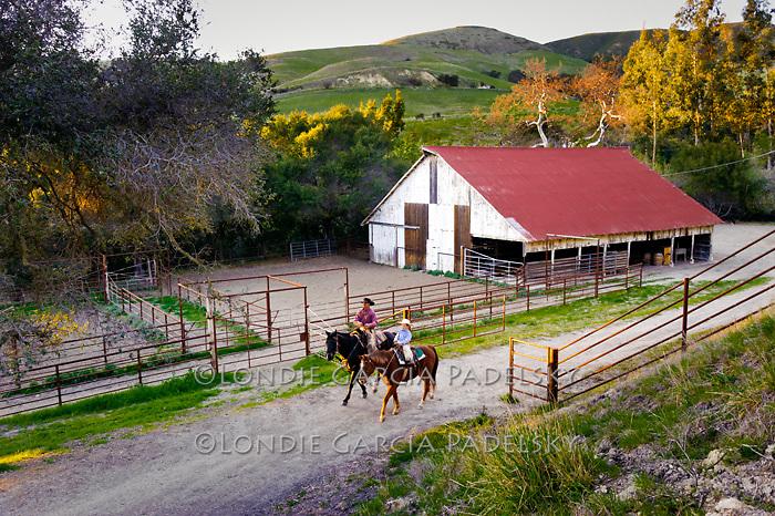 Cowboys at the barn, San Luis Obispo County, California