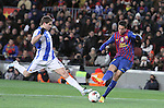 04.02.2012. Barcelona, Spain. Tello (R) and Llorente (L) in action during La Liga match between FC Barcelona against Real Sociedad at Camp Nou