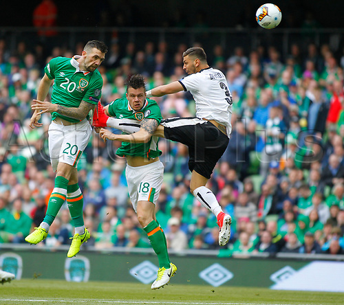 June 11th 2017, Dublin, Republic Ireland; 2018 World Cup qualifier, Republic of Ireland versus Austria; Shane Duffy with an attacking header for Republic of Ireland