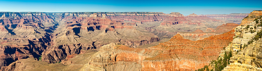 Panoramic view of South Rim in Grand Canyon, National Park. This is a 53 MP image composed of more than 15 individual shots. The Grand Canyon is a steep-sided gorge carved by the Colorado River in the United States in the state of Arizona. This is  one of the first national parks in the United States