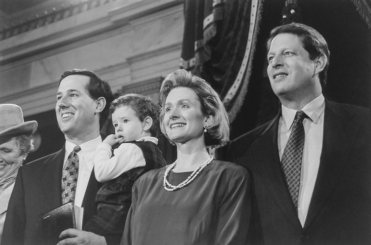 Sen. Rick Santorum, R-Pa., son Johnny, wife Karen and Vice President Al Gore during Senate mock swear-in on Jan. 4, 1995. (Photo by CQ Roll Call via Getty Images)