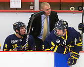 Kyle Bigos (Merrimack - 3), Glenn Stewart (Merrimack - Assistant Coach), Jordan Heywood (Merrimack - 4) -  - The visiting Merrimack College Warriors defeated the Harvard University Crimson 3-1 (EN) at Bright Hockey Center on Tuesday, November 30, 2010.