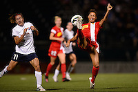 Western New York Flash defender Estelle Johnson (12). The Western New York Flash defeated Sky Blue FC 2-0 during a National Women's Soccer League (NWSL) semifinal match at Sahlen's Stadium in Rochester, NY, on August 24, 2013.