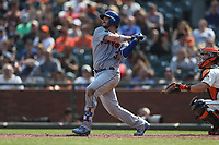 SAN FRANCISCO, CA - SEPTEMBER 2:  Tomas Nido #3 of the New York Mets bats against the San Francisco Giants during the game at AT&T Park on Sunday, September 2, 2018 in San Francisco, California. (Photo by Brad Mangin)