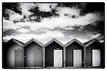 Beach Huts in a row at Blyth, Northumberland, England