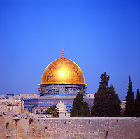 Dome of the Rock mosque, temple mount, old city, Jerusalem, Israel.  Considered the city's most beautiful building and the holiest Muslim shrine.