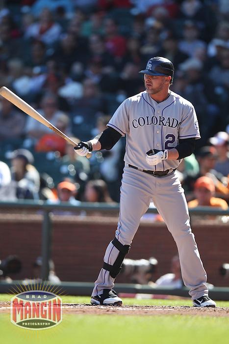 SAN FRANCISCO - SEPTEMBER 20:  Jason Giambi of the Colorado Rockies bats during the game against the San Francisco Giants at AT&T Park on September 20, 2012 in San Francisco, California. (Photo by Brad Mangin)