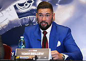 4th October 2017, Park Plaza, London, England; Tony Bellew versus David Haye, The Rematch, Press Conference; Tony Bellew explaining to the media how he will defeat David Haye during the press conference