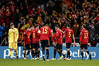 18th November 2019; Wanda Metropolitano Stadium, Madrid, Spain; European Championships 2020 Qualifier, Spain versus Romania;  Gerard Moreno (esp)  celebrates his goal which made it 3-0 - Editorial Use