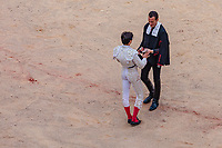 europe,spain,navarra,Pamplona,matador Andrés Roca Rey receives award  two ears (los máximos trofeos)