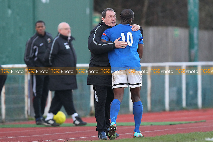 Andy Swallow of Grays congratulates Leroy Griffiths after he is substituted - AFC Hornchurch vs Grays Athletic - Ryman League Premier Division Football at The Stadium, Bridge Avenue - 01/03/14 - MANDATORY CREDIT: Gavin Ellis/TGSPHOTO - Self billing applies where appropriate - 0845 094 6026 - contact@tgsphoto.co.uk - NO UNPAID USE