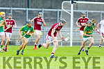 Causeway's Bryan Murphy clears his defence despite the pressure from Lixnaws Shane Conway and Robert Silles in R2 of the Garvey Supervalu Hurling Championship on Sunday