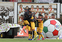 IPIALES - COLOMBIA, 25-09-2019: Andres Ricaute del Medellin celebra después de anotar el segundo gol de su equipo durante partido por la semifinal ida como parte de la Copa Águila 2019 entre Deportivo Pasto e Independiente Medellín jugado en el estadio Estadio Municipal de Ipiales. / Andres Ricaute of Medellin celebrates after scoring the second goal of his team during match for the first leg semifinal as part of Aguila Cup 2019 between Deportivo Pasto and Independiente Medellin played at Municipal stadium of Ipiales.  Photo: VizzorImage / Leonardo Castro / Cont
