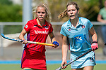 GER - Mannheim, Germany, May 05: During the women field hockey 1. Bundesliga match between Mannheimer HC (red) and Uhlenhorster HC Hamburg (light blue) on May 5, 2018 at Am Neckarkanal in Mannheim, Germany. Final score 1-3. (Photo by Dirk Markgraf / www.265-images.com) *** Local caption *** Charlotte van Bodegom #15 of Uhlenhorster HC Hamburg, Lydia Haase #12 of Mannheimer HC