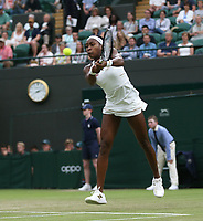 Cori Gauff (USA) during her match against Magdalena Rybarikova (SVK) in their Ladies' Singles Second Round match<br /> <br /> <br /> Photographer Rob Newell/CameraSport<br /> <br /> Wimbledon Lawn Tennis Championships - Day 3 - Wednesday 3rd July 2019 -  All England Lawn Tennis and Croquet Club - Wimbledon - London - England<br /> <br /> World Copyright © 2019 CameraSport. All rights reserved. 43 Linden Ave. Countesthorpe. Leicester. England. LE8 5PG - Tel: +44 (0) 116 277 4147 - admin@camerasport.com - www.camerasport.com