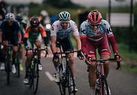 Nils Politt (DEU/Katusha-Alpecin) doing his share of work in the breakaway<br /> <br /> Stage 7: West Bridgford to Mansfield (215km)<br /> 15th Ovo Energy Tour of Britain 2018