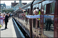 BNPS.co.uk (01202 558833)<br /> Pic: TomWren/BNPS<br /> <br /> Pulling out of Swanage...after 45 years.<br /> <br /> A plucky seaside railway that refused to die is finally rejoing the rail network today after a 45 year fight to reverse the Beeching axe.<br /> <br /> At 10.23 sharp a train will once again leave Swanage in Dorset to rejoin the main network at Wareham, thanks to an army of volunteers who have spent 45 years painstakingly rebuilding their line. 