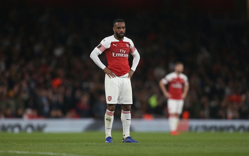 Arsenal's Alexandre Lacazette<br /> <br /> Photographer Rob Newell/CameraSport<br /> <br /> UEFA Europa League Semi-final 1st Leg - Arsenal v Valencia - Thursday 2nd May 2019 - The Emirates - London<br />  <br /> World Copyright © 2018 CameraSport. All rights reserved. 43 Linden Ave. Countesthorpe. Leicester. England. LE8 5PG - Tel: +44 (0) 116 277 4147 - admin@camerasport.com - www.camerasport.com