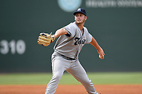 Starting pitcher Lucas Gilbreath (35) of the Asheville Tourists delivers a pitch in a game against the Greenville Drive on Sunday, June 3, 2018, at Fluor Field at the West End in Greenville, South Carolina. Greenville won, 7-6. (Tom Priddy/Four Seam Images)