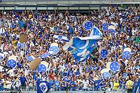 BELO HORIZONTE, MG, 19 MAIO 2013 - CAMPEONATO MINEIRO - ATLÉTICO MG X CRUZEIRO - Torcida  do Cruzeiro comemorando gol de Dagoberto , durante partida contra o Atlético Mineiro, jogo valido pela primeira partida da final do Campeonato Mineiro no estádio Mineirão em Belo Horizonte, na tarde deste Domingo, 19. FOTO: NEREU JR / BRAZIL PHOTO PRESS).