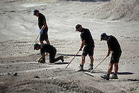 Pictured: Forensics officers sift through soil at the farmhouse, where Ben Needham disappeared from in Kos, Greece. Friday 07 October 2016<br />Re: Police teams led by South Yorkshire Police, searching for missing toddler Ben Needham on the Greek island of Kos have moved to a new area in the field they are searching.<br />Ben, from Sheffield, was 21 months old when he disappeared on 24 July 1991 during a family holiday.<br />Digging has begun at a new site after a fresh line of inquiry suggested he could have been crushed by a digger.